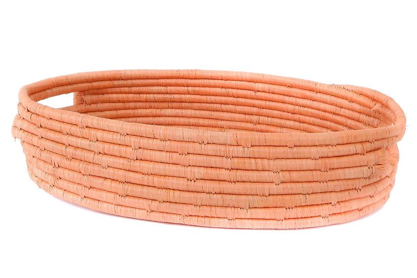 Peach Raffia Bread Basket With Handles