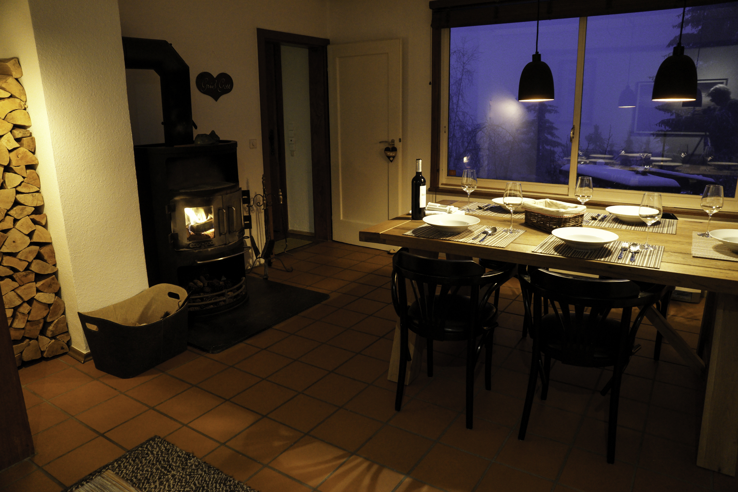 Log burner stove, panorama window