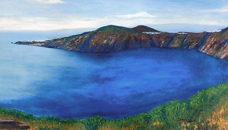 Santorini Thera Thira Pastel Drawing