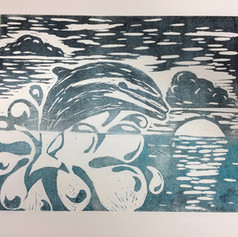 Dolphin Linocut Finished