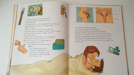 An open page revealing sex advice: a couple (implicitly male and female) kiss romantically wrapped in bedsheets.