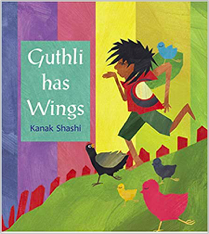 Book cover: child walking with birds around them.