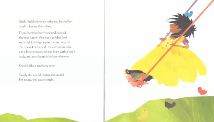 Scan of book: the same child is now happy wearing a yellow dress and playing on a swing.