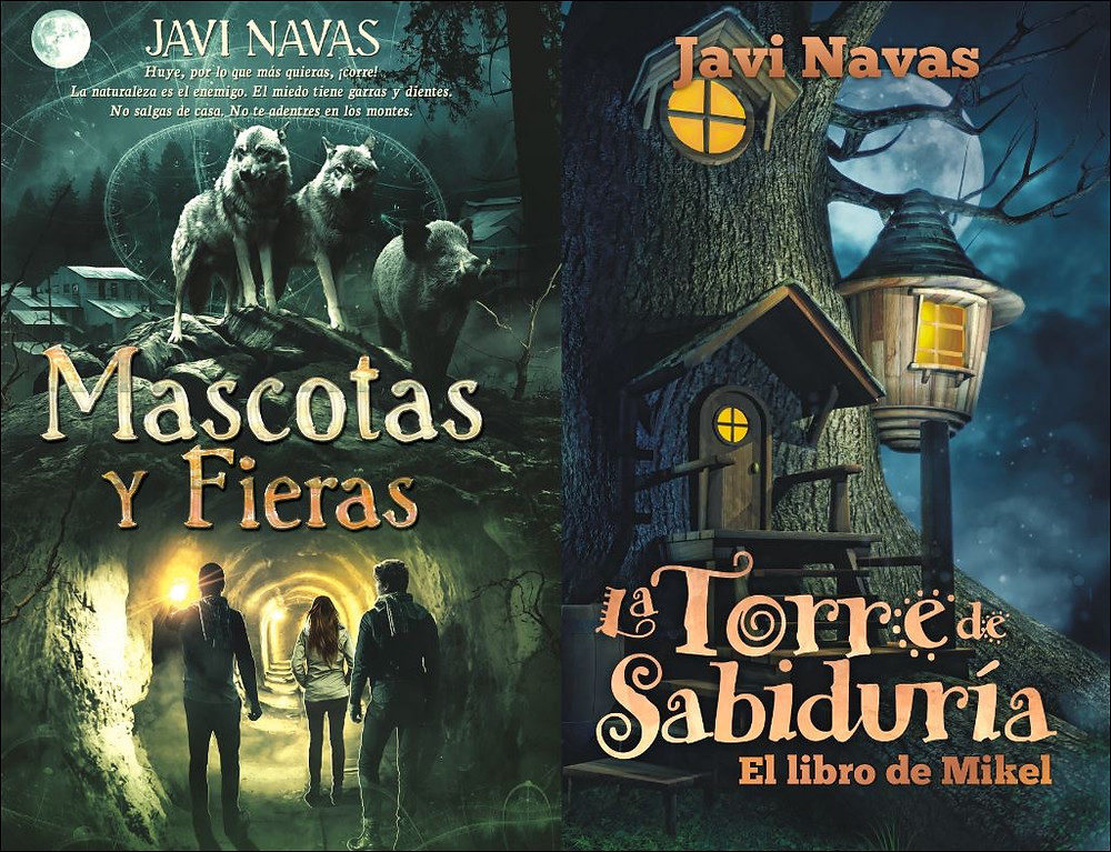 Portadas de Mascotas y fieras y La Torre de Sabiduría, El libro de Mikel, de Javi Navas.