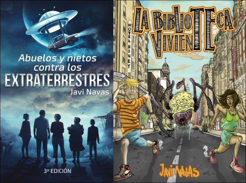 """Portadas de """"Abuelos y nietos contra los extraterrestres"""" y """"La biblioteca viviente"""". Están en www.javinavas.es"""