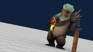 Game Animation - Character Set - Crocodile Warrior
