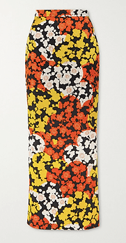McQ Floral Silk Crepe Skirt
