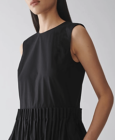 COS Flared Cotton Dress Black