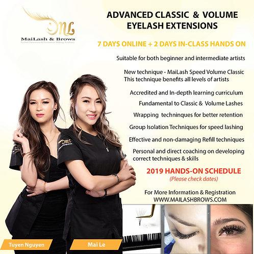 2019 Class Dates on Advanced Classic & Volume Eyelash Extension Training