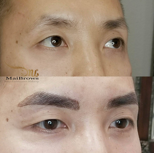 Male eyebrow microblading. Client wishes to lengthen the brows, giving it an actual shape and much fuller than his natural shape.