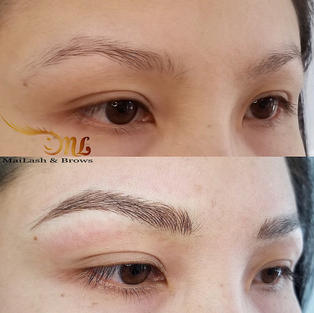 before and just done on fine hair and natural brow matches with Golden ratio accurately