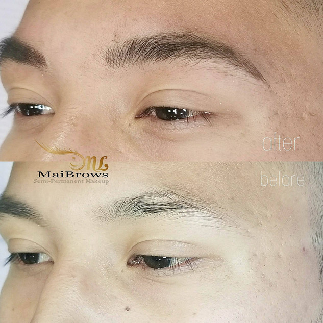 Microblading for male. Male eyebrow microblading super natural that follow his natural shape.