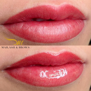 To make lips glossy, simply just use lip gloss or Vaseline