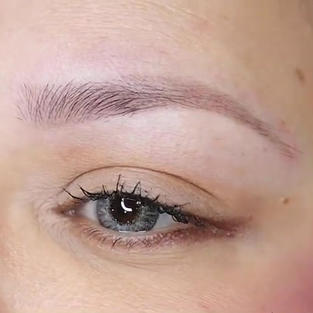healed powder brows at 5 weeks, no more sharp outline.