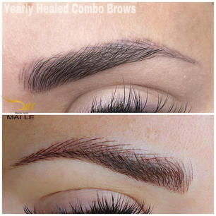 Combo brows Fresh vs. Healed 1 year. Strokes get shorter and lighter, especially in the front and the arch.