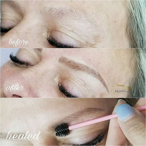 Befofe - after microblading - healed 5 w