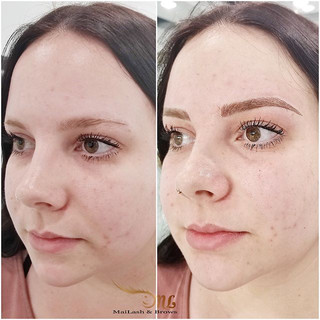 Microblading to add an arch and fullness._Thick brows for my client! 😘  Pictures showing before, right after, and healed. .jpg