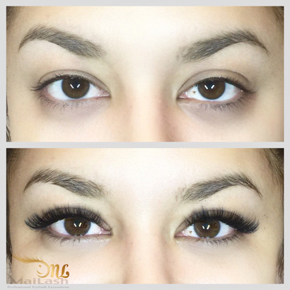 Russian volume lashes. This style is aimed to give the client an eyeshadow effect. The style is short lengths and curly.