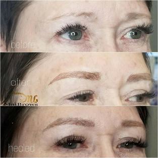 Microblading on mature skin, little brow hair. Comparing the just done vs. Healed at 6 weeks (they will continue to show more gaps)