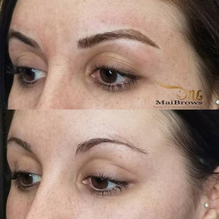 missing arch on natural brow. Strokes are lighter  where there's least amount of hair.