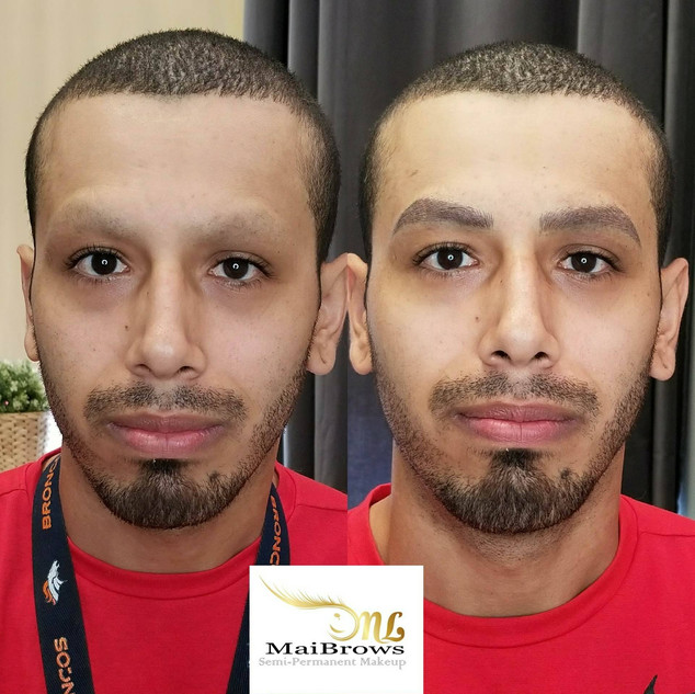 Eyebrow Microblading for Trichotillomania. Restoring eyebrows for trichotillomania client, male eyebrows.