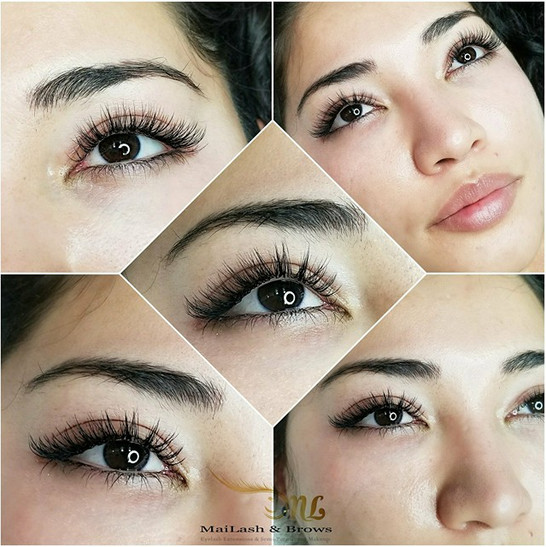 Wispy Volume lashes. Using MaiLash technique to achieve this wispiness with a mixture of long and short lengths all throughout in a random order to give a natural look.