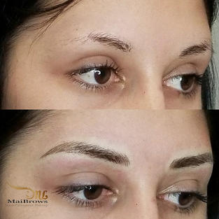 Microblading on brows that miss tails (area without hair is lighter)