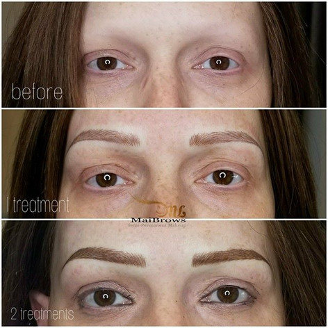 Eyebrow Microblading for Alopecia client giving her a natural arch.