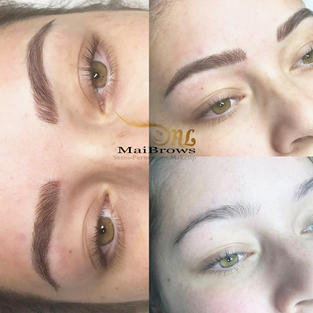 Microblading hairstrokes on natural full brows