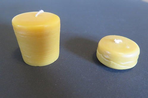 Beeswax candle, large votive