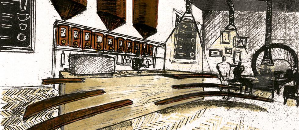 Croquis Comptoir barista café Big bang Coffe