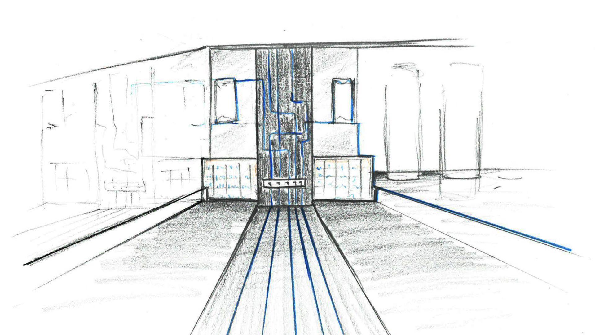 Croquis d'ambiance  shop factory Blue Coast par B5 RETAIL
