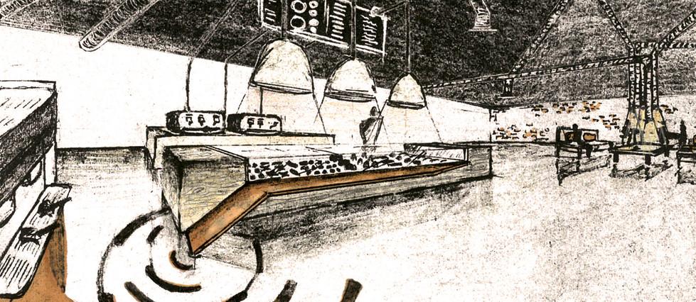 Croquis comptoir présentation produits viennois l'établissement café Big bang Coffe