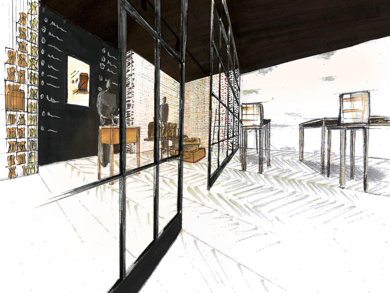 Croquis zone de dégustation et lounge l'établissement café Big bang Coffee