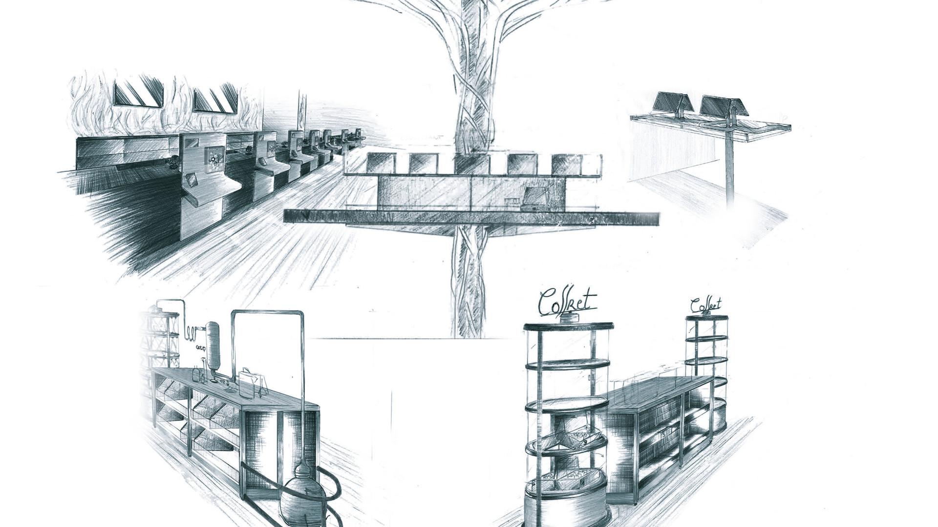 Croquis d'intention d'aménagement et de design magasin cosmetiques bio AROMA ZONE PARIS