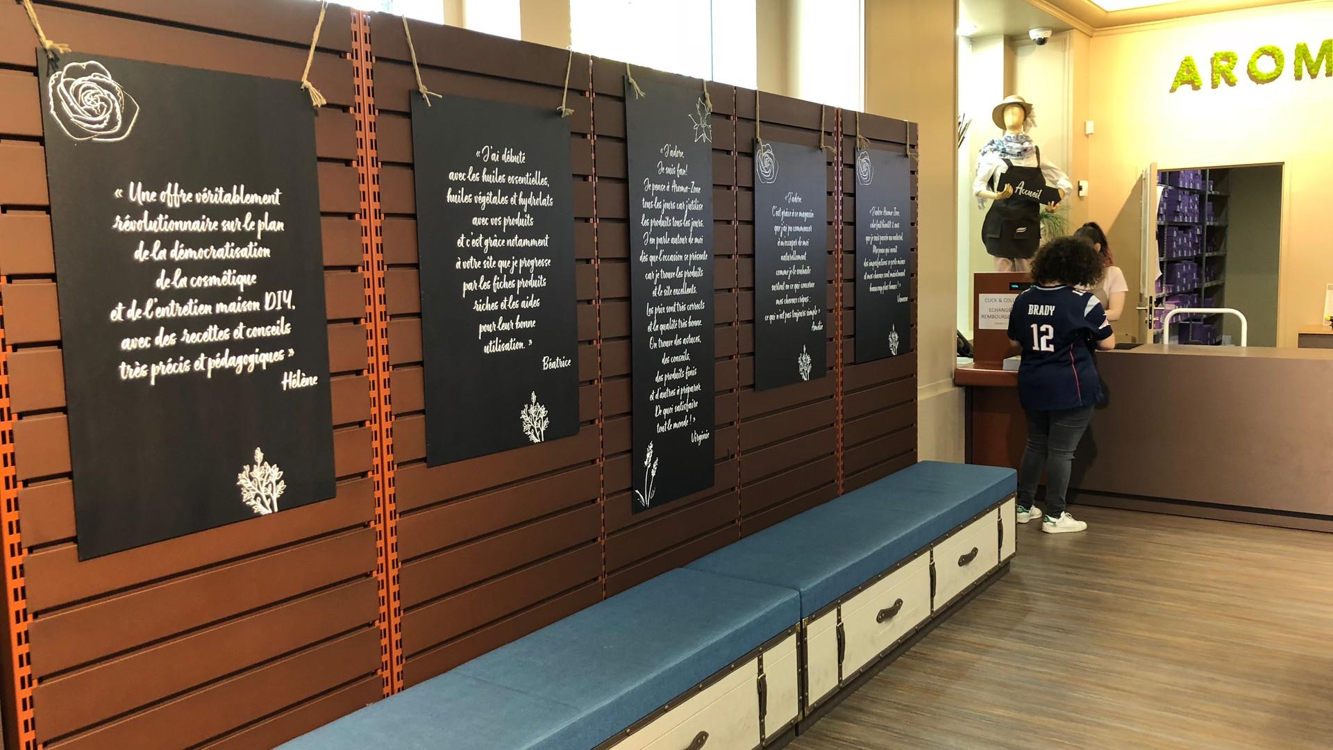 Communication message de marque zone accueil et caisse magasin cosmetiques bio AROMA ZONE PARIS