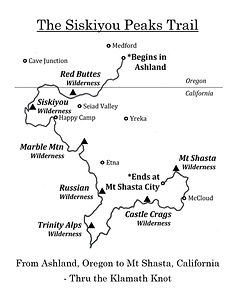 The Siskiyou Peaks Trail Map - By Aria Z