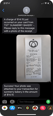 Receipt management via text message