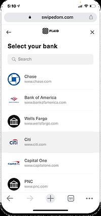 SWIPEDOM add bank account