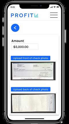 Profit business bank check deposit