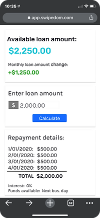 0% interest business loan payments