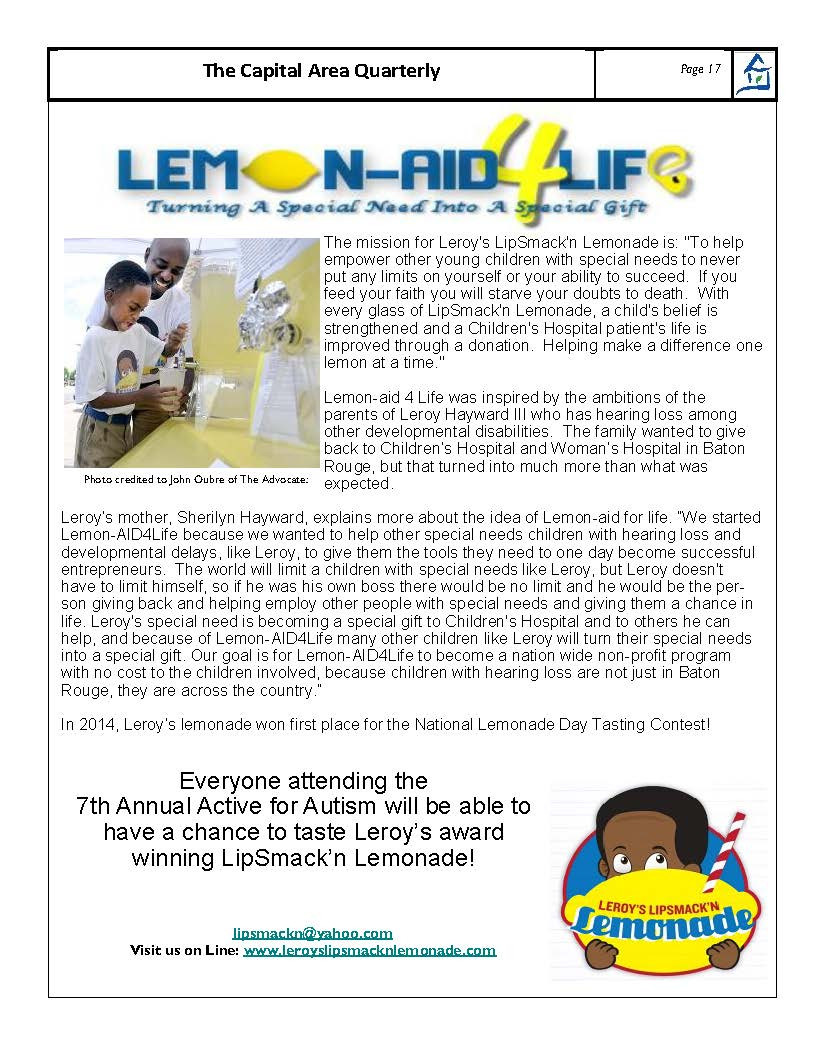 Article in Families Helping Families of Greater Baton Rouge's Newsletter