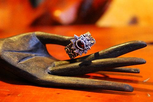 Garnet Quasar: Fine Silver (.999) Ring