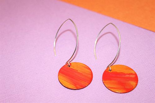 Sunset Orange Disc Earrings