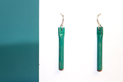 Messy Teal Tube Earrings