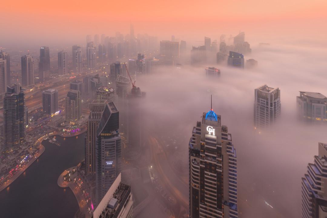 Dubai Marina Bathed in Fog Dec-23-17