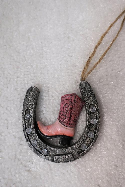 Pink Boot Horseshoe Ornament