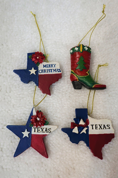 Texas Polyresin Ornaments Set of 4
