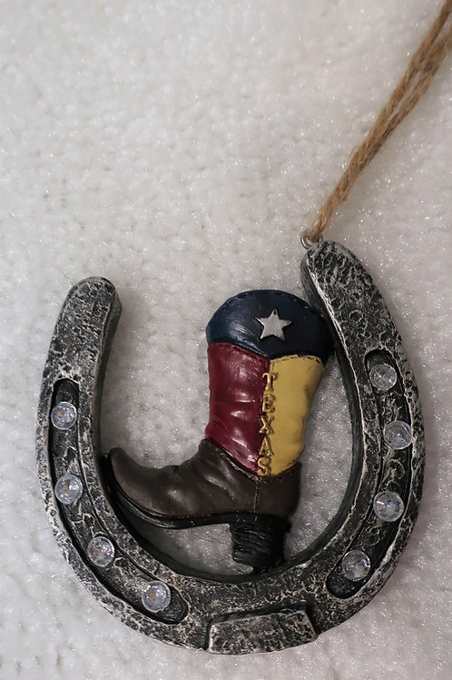 Texas Boot Horseshoe Ornament