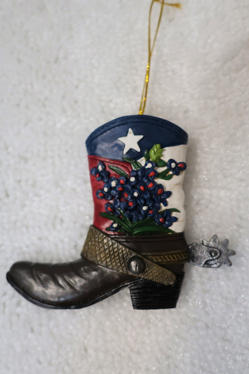 Boot with Bluebonnet Ornament